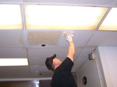 how to clean drop ceiling tiles